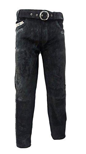 SHAMZEE Trachten Lederhose lang in Schwarz farbe Echt Leder SHAMZEE Trachtenlederhosen Gr. 46-62 (taillenmaß stehen im beschreibung) (54, Schwarz)