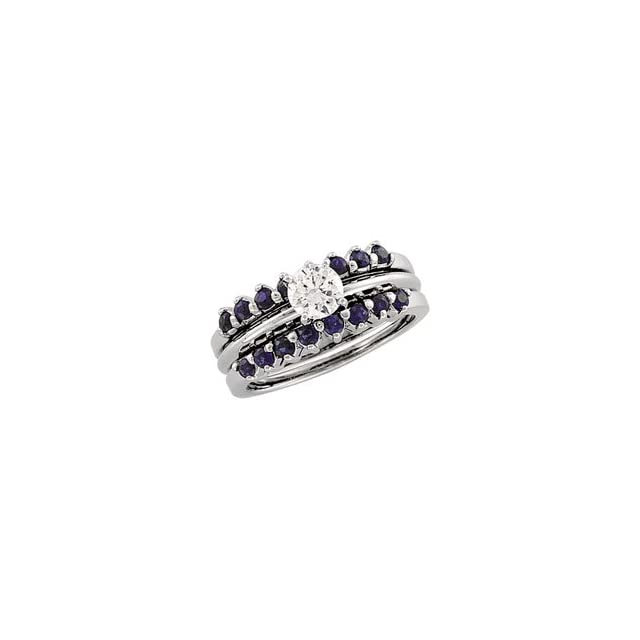 2.00Mm 14K White Gold Bridal Ring Guard Genuine Sapphire
