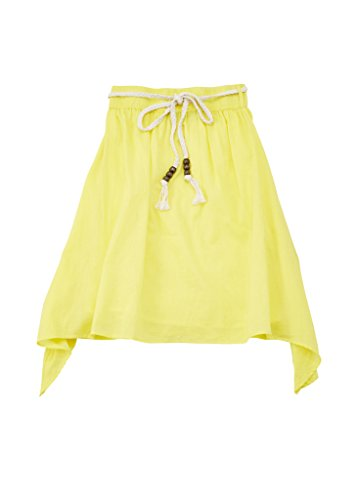 Price comparison product image [A33429-BAN-14/16] Chilipop Skirt for Girls, Cotton Voile, Rope Belt, Elastic Waist, Banana