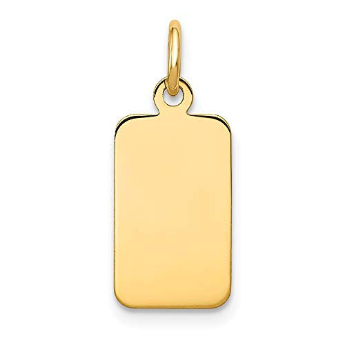Number Charm 14kt Gold Jewelry - 14k Yellow Gold .009 Gauge Engravable Rectangular Disc Pendant Charm Necklace Square Rectangle Fine Jewelry Gifts For Women For Her