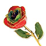 Long Stem Dipped 24K Gold Trim Gypsy Rainbow Rose in Gift Box