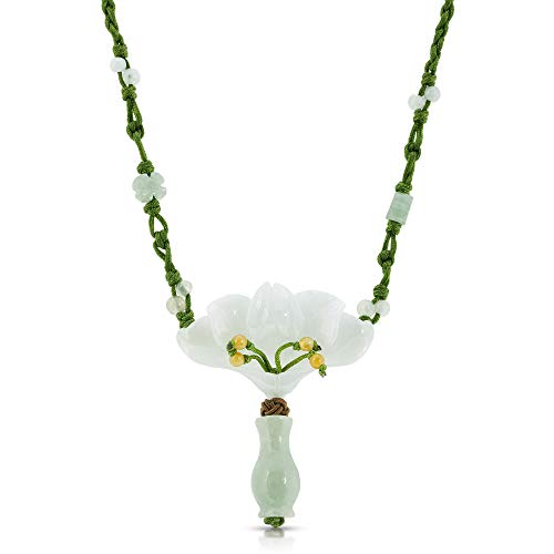 Peacock Orchid Blossom Flower with Vase Handmade Jade Necklace