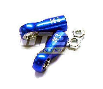Integy RC Model Hop-ups T7925BLUE Alloy Ball End (2) 3mm Mounting Hole w/ M3 Thread (2) for Stock Jato Shocks