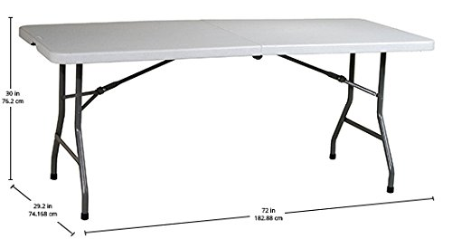Amazon.com: Office Star Resin Multipurpose Rectangle Table, 6 Feet, Center  Folding: Kitchen U0026 Dining
