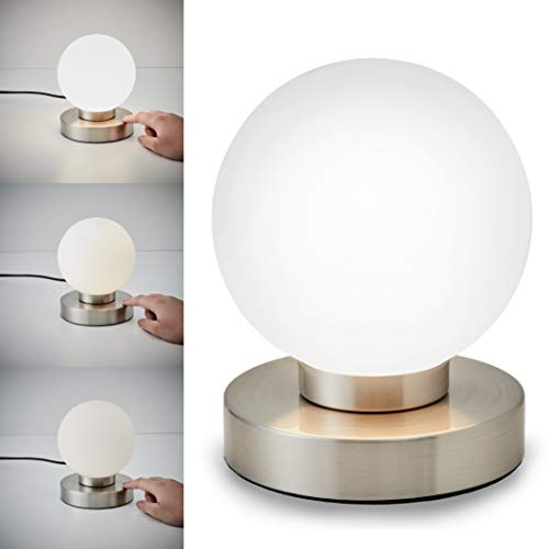 Lampara de mesa tactil max. 25 W E14, Ø15,7cm, 4 niveles de luminosidad, Lamparilla de noche moderna, Color blanco, IP20