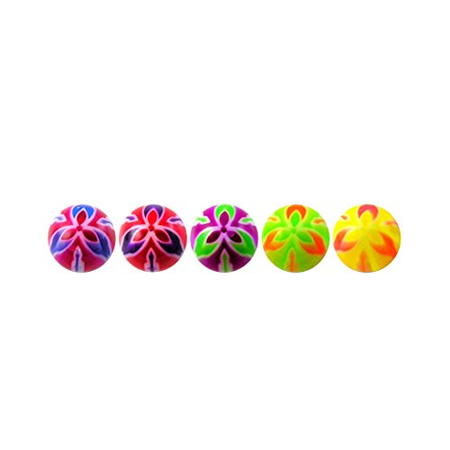 (10 Pieces (5 Pairs) Mix Color Pack 1.6x5MM Threaded UV Fancy Flowers Acrylic Ball)