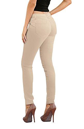 Women's Butt Lift Stretch Denim Jeans-P37386SKX-IVORY-24 (Pant Trouser Ivory)