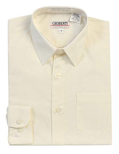 Gioberti Boys Long Sleeve Solid Dress Shirt, Ivory, -