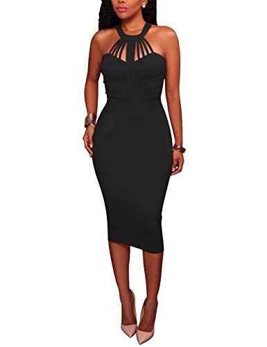 Rela Bota Women's Bodycon Sleeveless Hatler Zipper Sexy Party Midi Dress Clubwear X-Large -