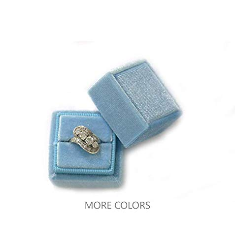 Vintage Ring Box - Velvet Square Single Ring Box, Photography Prop, Vintage Wedding Ceremony Ring Box Detachable Lid, Engagement, Modern Slim Ring Box Display Rose Pink, Single Ring Box (Dusty Sky Blue, Single Ring Box)