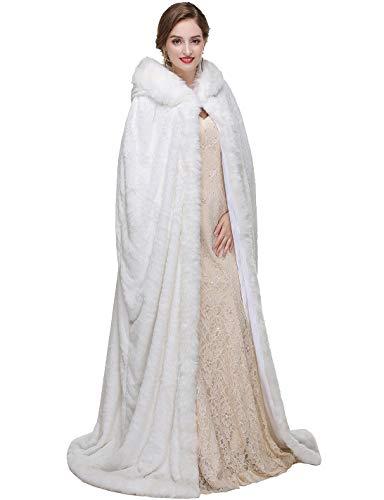 Longue De Avec Fourrure Mariage Blanc Hiver Ivoire Capuche Femme Manteau Kivie Manteaux Mariée Cape À Chaud Halloween NwP0X8nOk