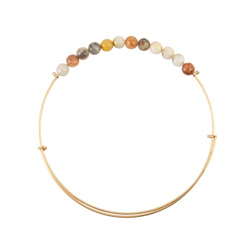Bops Expandable Wire Bangle, Natural Stones, Stackable Stretch Bracelet for Women and Girls (Crazy Lace Agate)