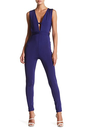 Wow Couture Caged Bodycon Jumpsuit For Women In Navy, Small (Jumpsuits Wow Clothes Dresses)