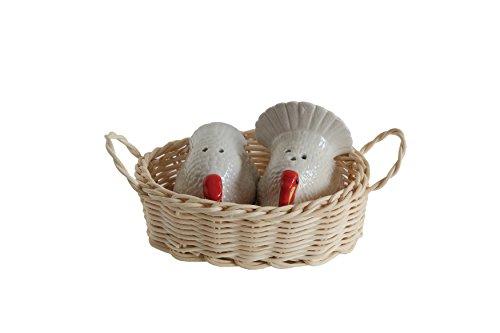 3 Pc Stoneware Turkey 1.75 Inch Salt and Pepper Shaker Set with Basket