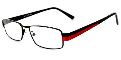 Pioneer Fashion Reading Glasses with Slim Italian Frames and Bold Two-Tone Colors for Youthful, Stylish Men and Women (Red - Red Square Glasses Framed