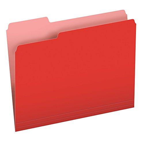 Pendaflex Two-Tone Color File Folders, Letter Size, 1/3 Cut, Red, 100 per Box (152 1/3 RED)