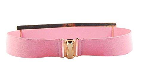 Kobwa(TM) Pink Lady Luxury Gold Plated Metallic Elastic Skinny Waist Belt With Kobwa's Keyring