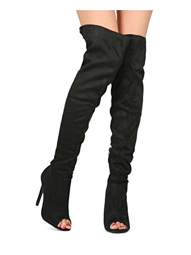 Alrisco Women Over The Knee Peep Toe Hind Lace Up Stiletto Boot HE24 - Black Faux Suede (Size: 10)