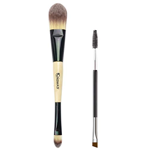 KINGMAS Dual Ended Concealer/foundation Makeup Brush with Duo Eyebrow Brush