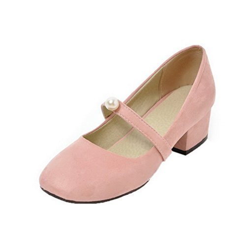 Odomolor Women's Solid Frosted Low-Heels Pull-On Closed-Toe Pumps-Shoes, Pink, 39