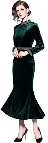 - Ababalaya Women's Retro High Neck Chain Beads Long Sleeve Velvet Mermaid Evening Gown,Dark Green,Tag M = US Size 4