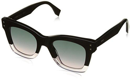 Fendi Pink Sunglasses (Fendi FF 0237 3H2 Color Block Black Crystal Light Pink Plastic Square Sunglasses Light Pink Gradient Lens)
