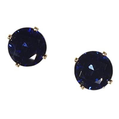 14k Gold Blue Created Sapphire Round Faceted Stud Earrings 6mm by ugems