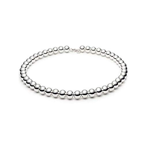 (Verona Jewelers Sterling Silver 4MM-10M Italian Bead Ball Chain Bracelet- Handmade Bead Italian Bracelet, Silver Bead Bracelet for Women (7.5, 4MM) )