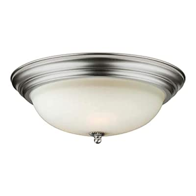 """Forte Lighting 6029-03 3 Light 16"""" Wide Flush Mount Bowl Ceiling Fixture with Wh, Brushed Nickel"""