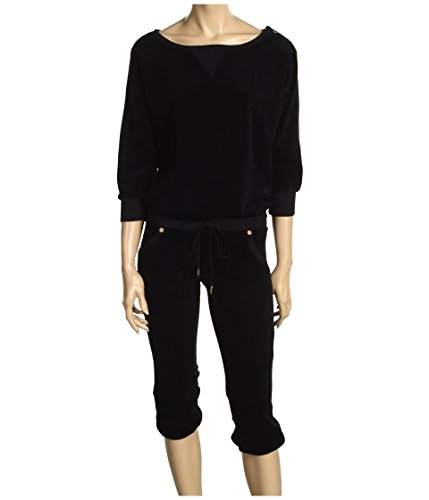 Juicy Couture Terry Romper Dolman Sleeve Cropped Black Jumpsuit (PT (Couture Dolman Sleeve)