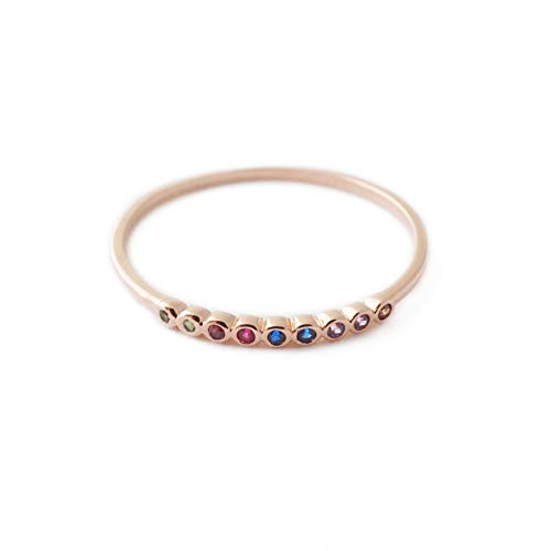 HONEYCAT Rainbow Tiny Crystal Bezel Ring in 18k Rose Gold Plate | Minimalist, Delicate Jewelry