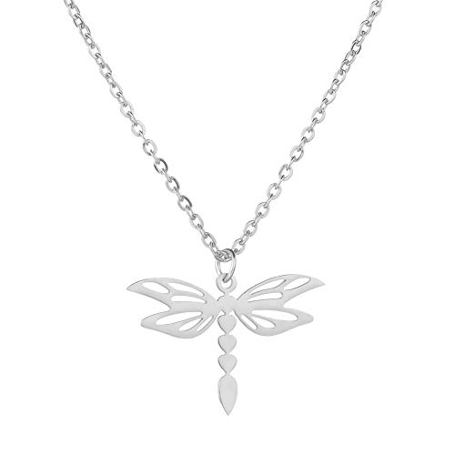 lightclub Simple Cute Hollow Dog/Owl/Horse/Whale/Fish Pendant Long Chain Necklace Jewelry - Silver Dragonfly Elegant Necklace for Women
