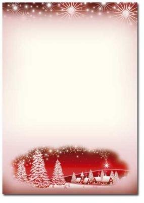 Motivpapier Weihnachten Briefpapier Winterdorf Rot 100 Blatt Din