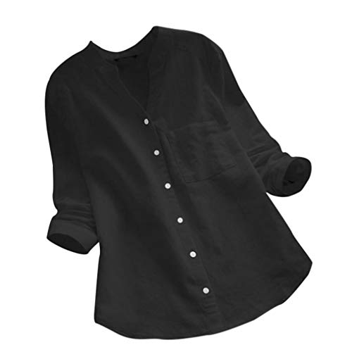 - Rambling Women Cotton Linen Casual Loose Button-Down Shirt Solid Long Sleeve Basic Blouse Henley Tops Black
