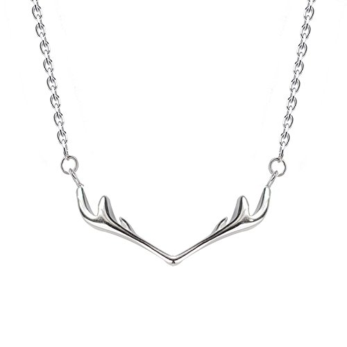 Generic Ms s925 silver /_gilt/_ small /_elk/_antlers/_ pendant necklace jewelry chain clavicle small /_fresh