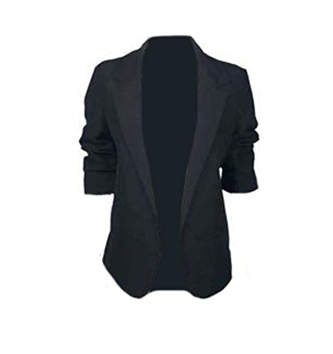 Macondoo Women's Open Front Padded Thin Draped Career Blazer Suit Black X-Small (Uniforms Breasted Double Peaches Uniform)