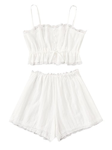SheIn Women's Lace Cami and Shorts Pajamas Set Sleepwear Nightwear Small White