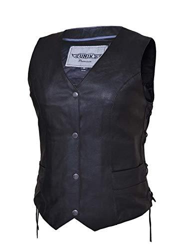 Unik Motorcycle - Ladies Traditional Premium Leather Motorcycle Vest,Black,Size - XL