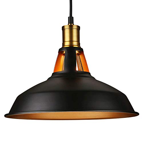 LEONLITE Industrial Metal Pendant Light, Edison Vintage Style Hanging Barn Lampshade, Matte Black, UL Listed, E26 Base, for Kitchen, Pool Table, Dining Room