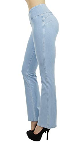 Shaping Pull On Butt Lift Push Up Yoga Pants Stretch Indigo Denim Flare Jeans in Indigo Ice Size L