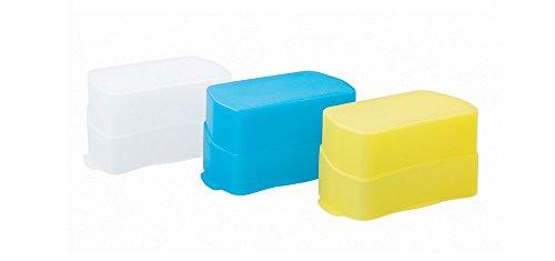 Bounce Dome Camera Flash Diffuser Compatible Canon, Nikon, Sony,Godox Flash Speedlight, 3-Pack (White, Yellow, Blue)