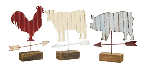 Distinctive Designs Galvanized Metal Rooster, Cow, and Pig Figurines, Set of -