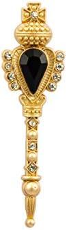 Knighthood Golden Key with Black Stone and Swarovski Detailing Lapel Pin Badge Coat Suit Jacket Wedding Gift P