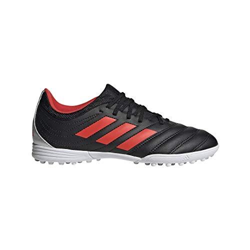 adidas Unisex Copa 19.3 Turf Soccer Shoe, Black/hi-res red/Silver Metallic, 4.5 M US Big Kid