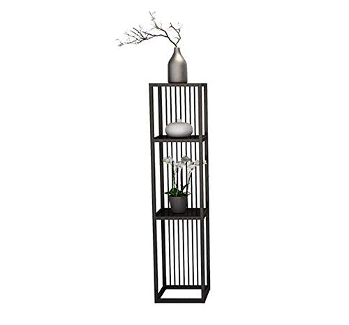 (HU Nordic Wrought Iron Multi-Layer Flower Stand Living Room Interior Green Loll Floor Flower Shelf (Color : Black, Size : L))