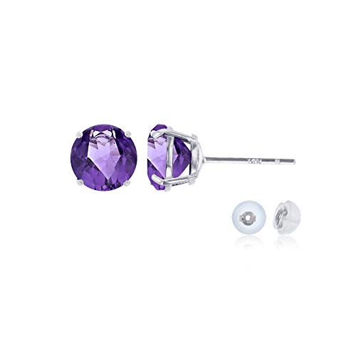 (Genuine 14K Solid White Gold 6mm Round Natural Purple Amethyst February Birthstone Stud Earrings)