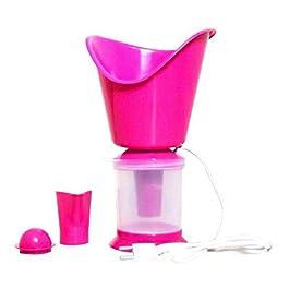 3 in 1 Technology Mini Super Facial Steamer Steam Sauna Vaporizer Nose Cough Nozzle Inhaler, (Pink)