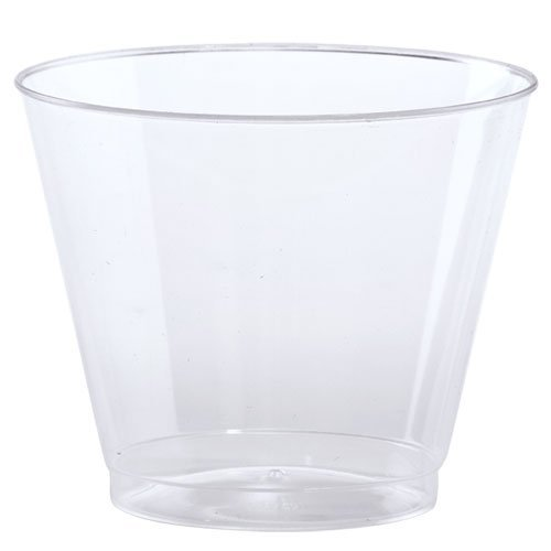 - Hard Plastic Tumblers 9 oz. Party Cups/Old Fashioned Glass, 50 Count Drinking Glasses, Crystal Clear