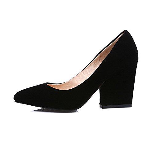 AgooLar Damen Spitz Zehe Ziehen auf Rein Hoher Absatz Pumps Schuhe Schwarz