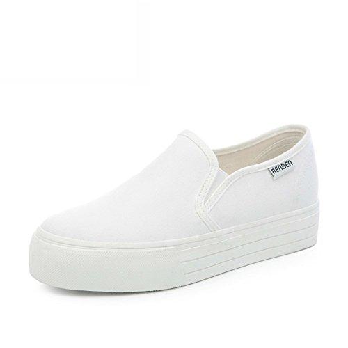 Zapatos Mocasín,Mujer Perezosa Llevaba Lona,Zapato Mujer Joker Blanco,Alumnas En La Versión Coreana De La Altura Zapatos F